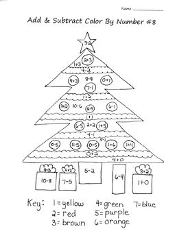 Christmas Tree Addition Subtraction Color By Number Christmas Math Worksheets Christmas Math Christmas Tree Coloring Page