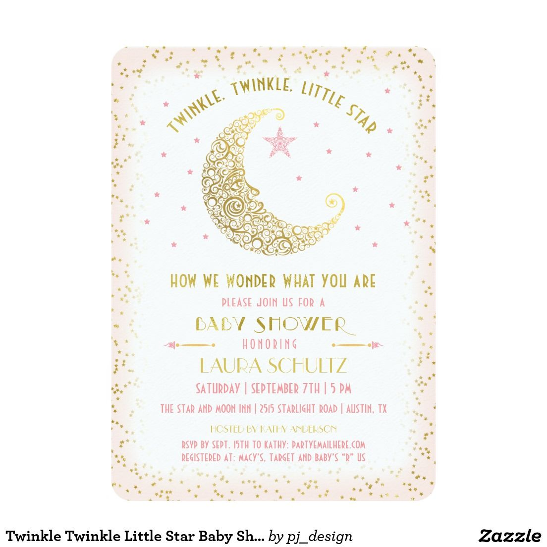 Twinkle Twinkle Little Star Baby Shower Invitation | Baby Shower ...