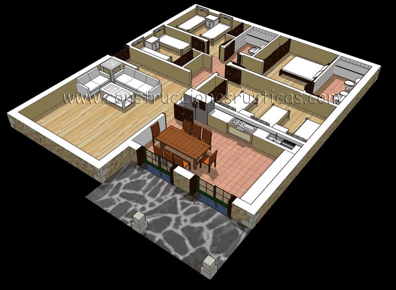 planos de casas 3d de 4 dormitorios