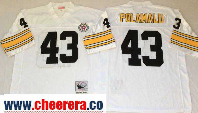 check out d78e8 fbd0a Men's Pittsburgh Steelers #43 Troy Polamalu White Throwback ...