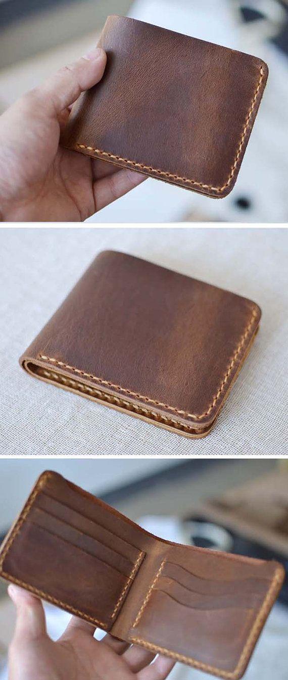 587ac96215e9 Handmade Wallet Mens Leather Wallet Hand Sewing Brown Bifold wallet vintage  Gift for men Billfold 6 Card holder  W06