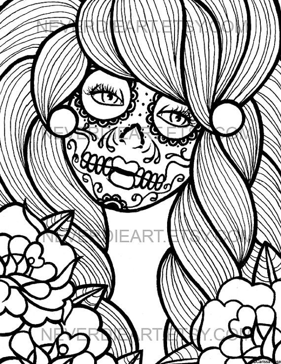 digital download print your own coloring book outline page day of the dead sugar skull