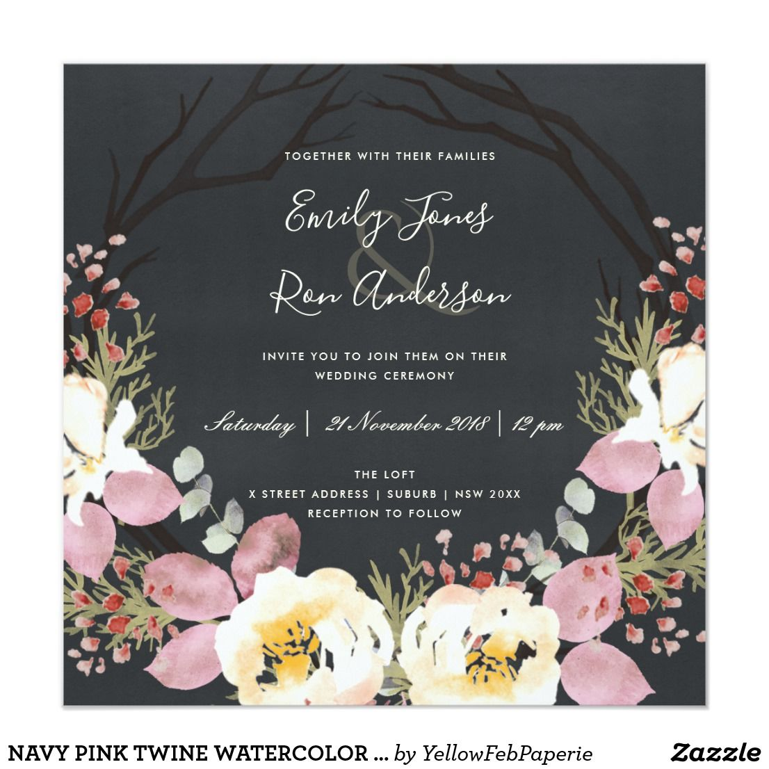 Wedding decorations with flowers november 2018 Navy pink twine watercolor floral wreath wedding card  Floral wreath