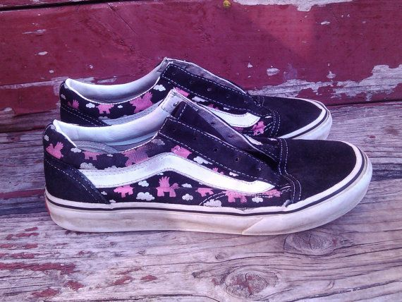 db27fb927c64fd Vintage 90s Vans Off The Wall Skater Skateboard Shoes Flying Pink ...