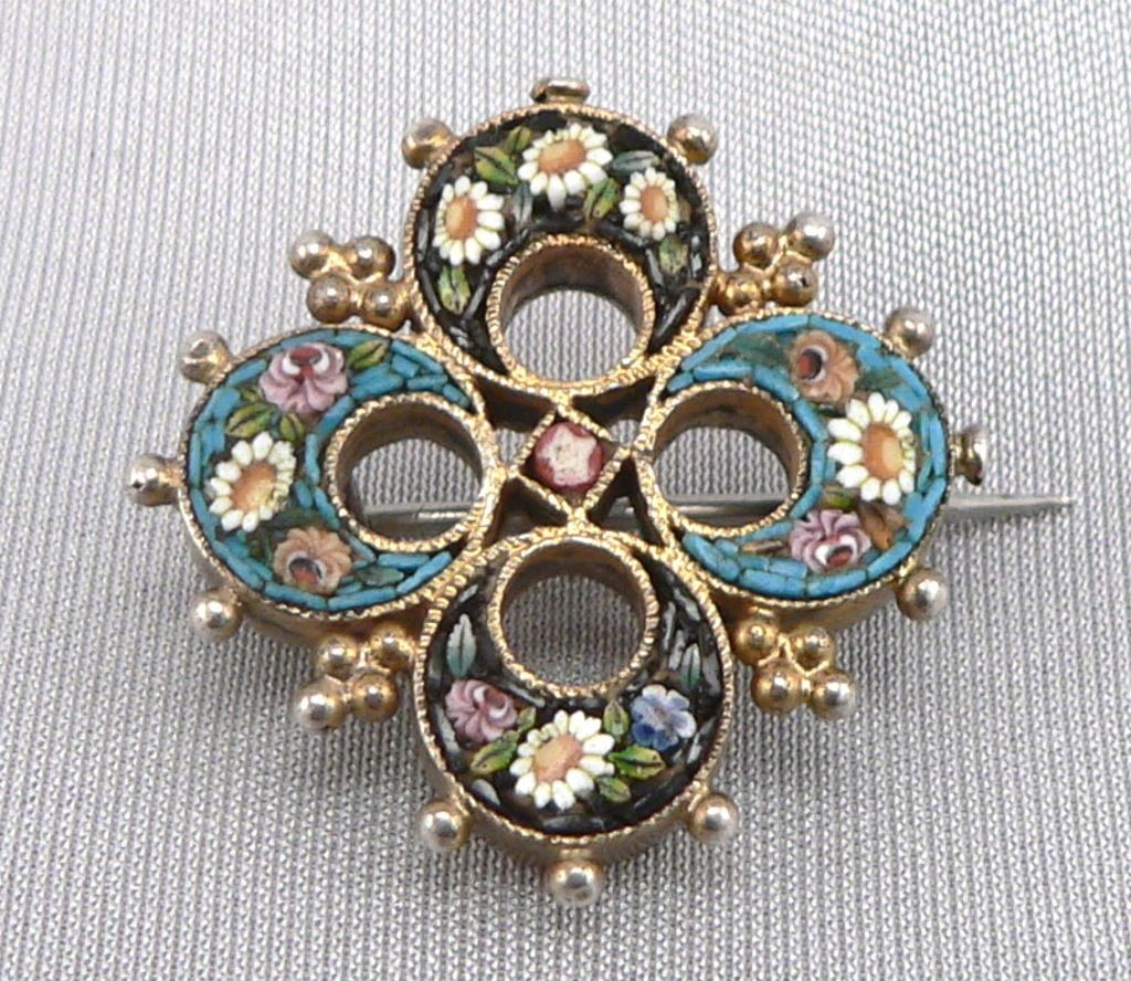 Antique Micro Mosaic Floral Design Sterling Silver Brooch Pin