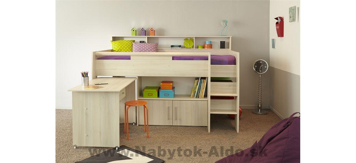 Detska Posteľ Kurt Multifunkcna Cabin Bed With Desk Mid Sleeper Bed Childrens Cabin Beds