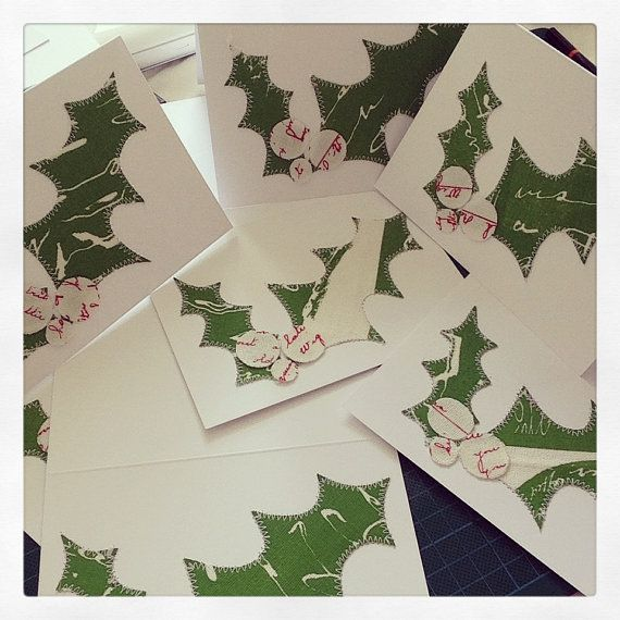 Set of Three Christmas Holly Cards by lucie pritchard textile design