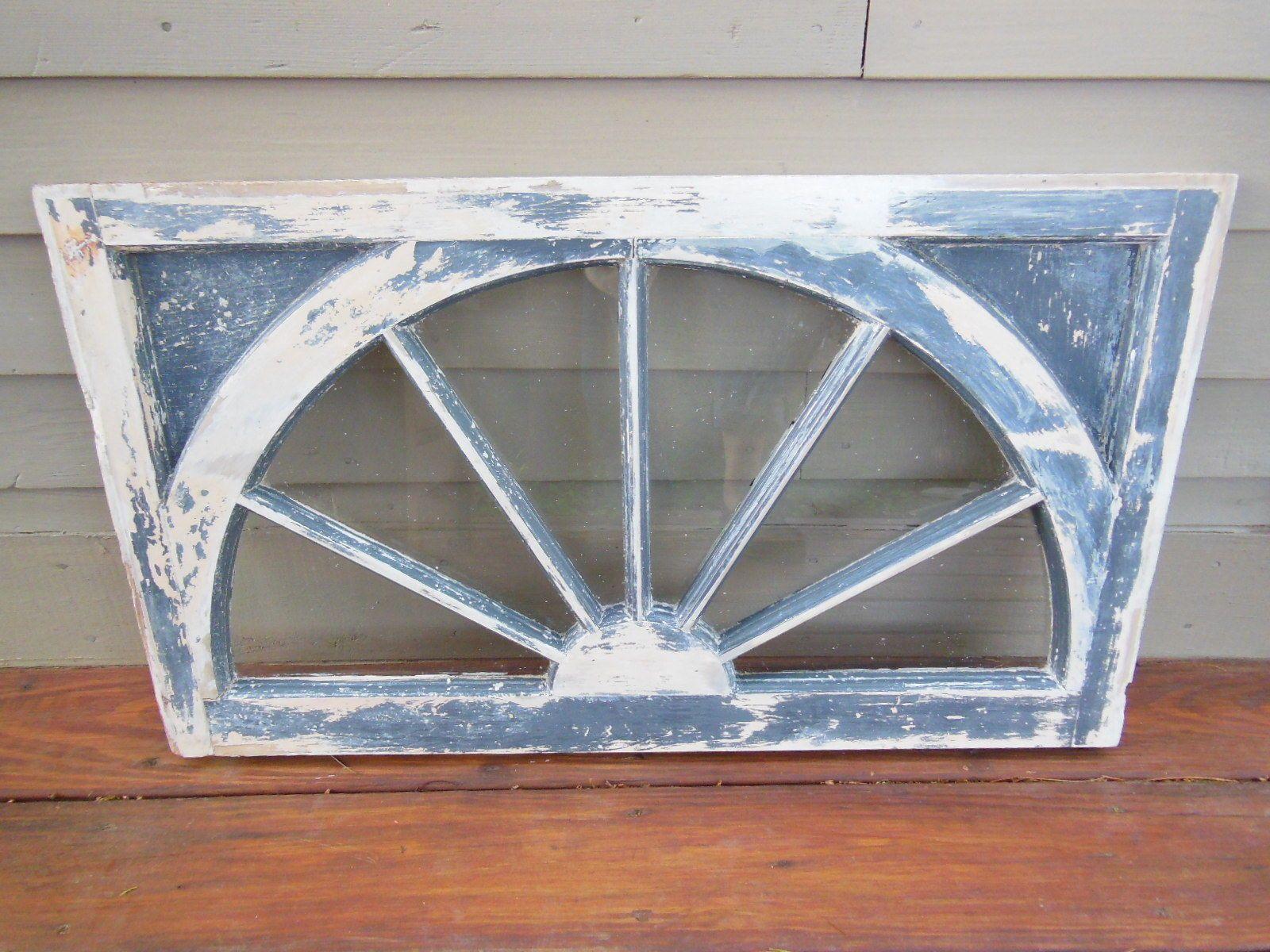 Antique Wooden Half Round Transom Window Shabby Architectural