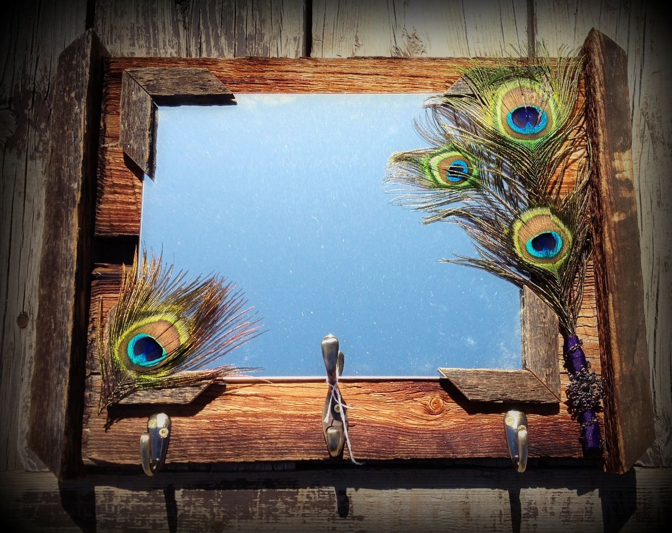 Barn board mirror with peacock feathers | Barn board ...