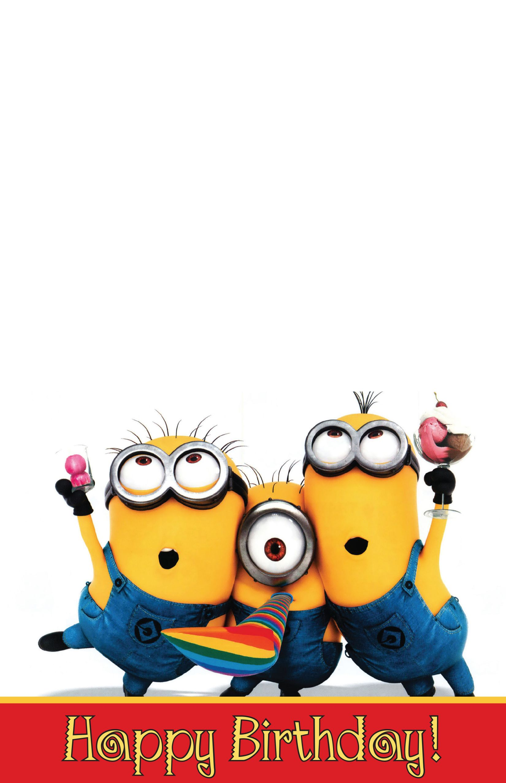 Free Minion Birthday Card A 7 Fold Over To Size 5 5 X 4 25
