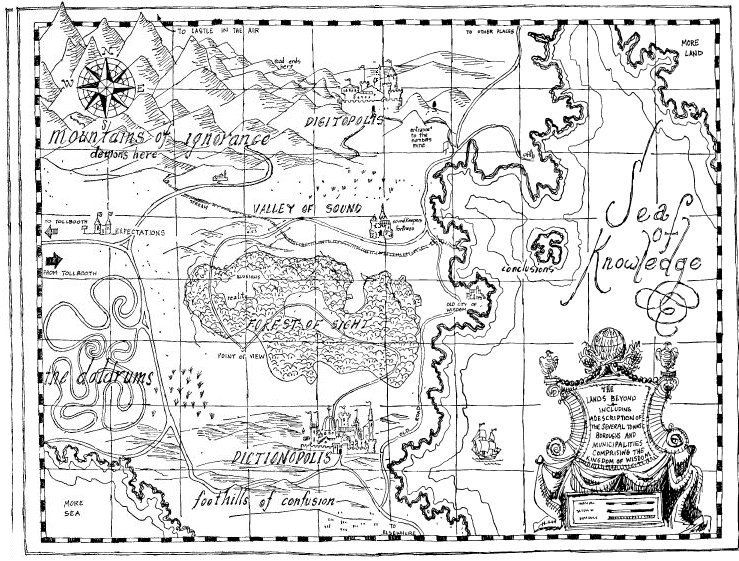 Phantom Tollbooth Map Map of the Lands Beyond from The Phantom Tollbooth | • Page Turner