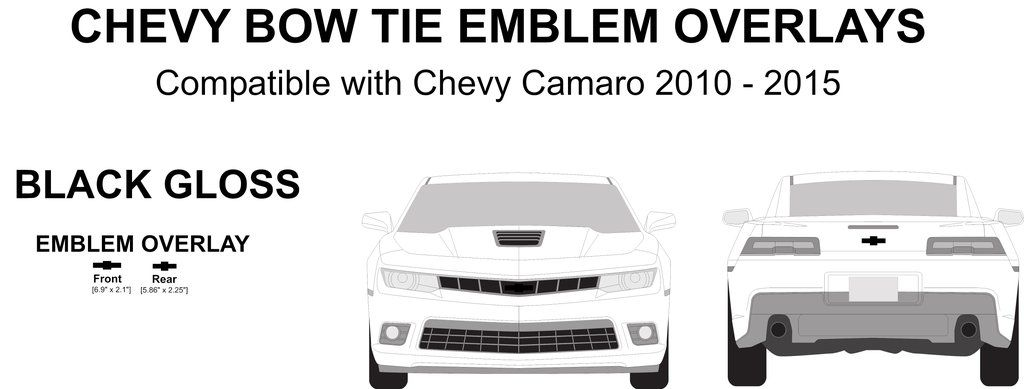 (2) Camaro Emblem Logo Overlays - Compatible with/Replacement for - Chevy Camaro 2010 - 2015