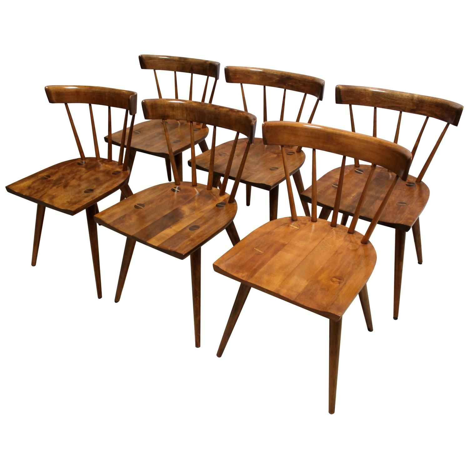Set of Six 1950s Paul McCobb Planner Group Maple Dining ...