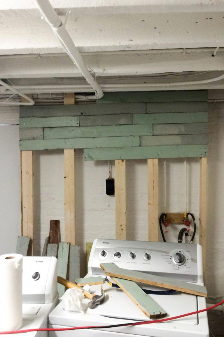 DIY Laundry Room Pallet Accent Wall