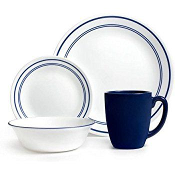 Corelle Livingware 32-Piece Dinnerware Set Classic Cafe Blue Service for 8 (  sc 1 st  Pinterest & Corelle Livingware 32-Piece Dinnerware Set Classic Cafe Blue ...