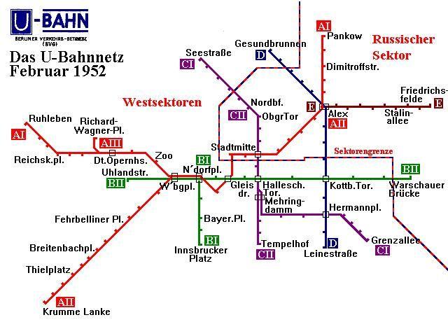 Berliner U-Bahn Netz im Februar 1952