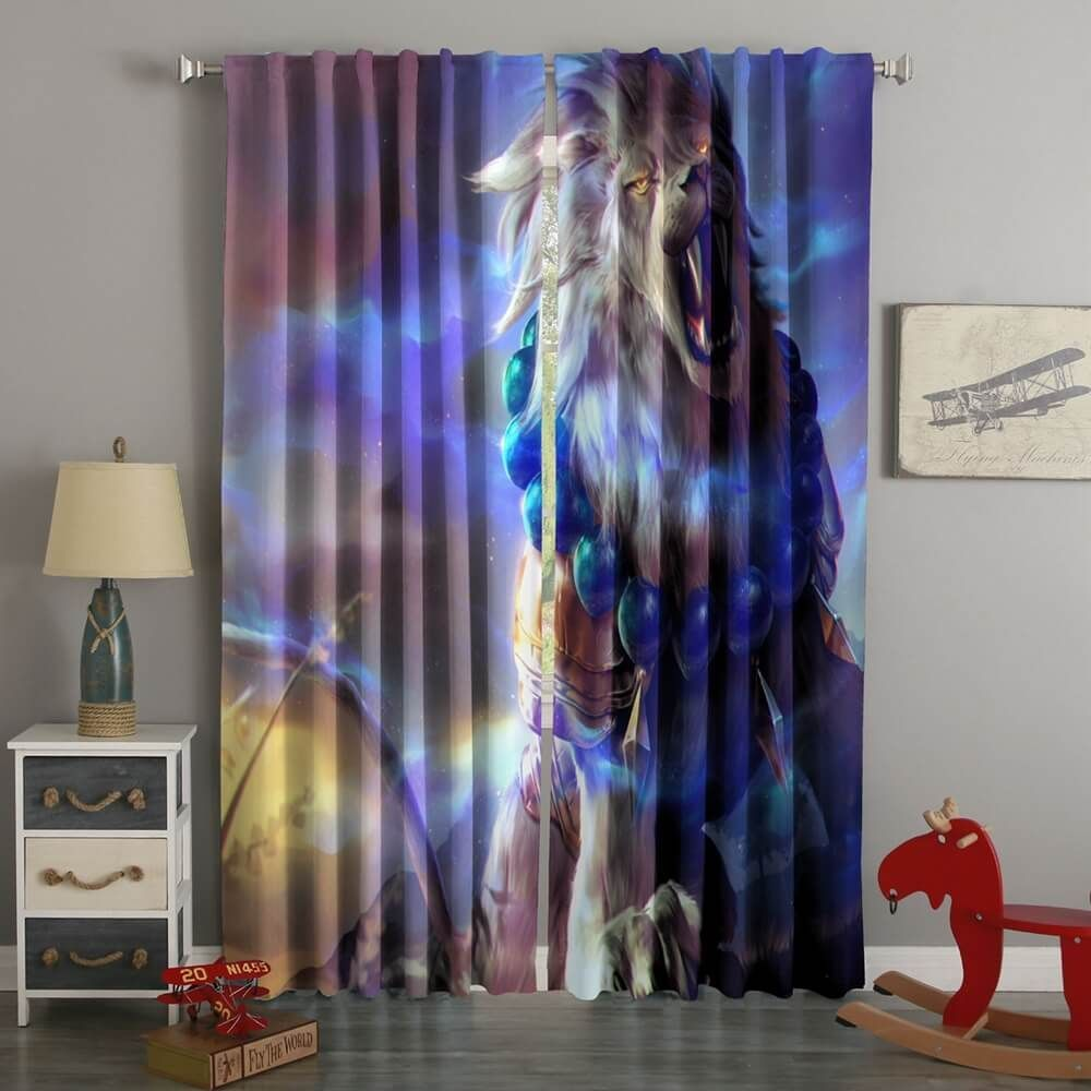 D printed colorful lion style custom living room curtains