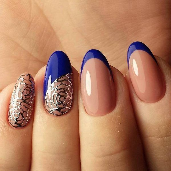 elegant nails blue tips nude nails ideas #blue #nail #art   Nail art ...