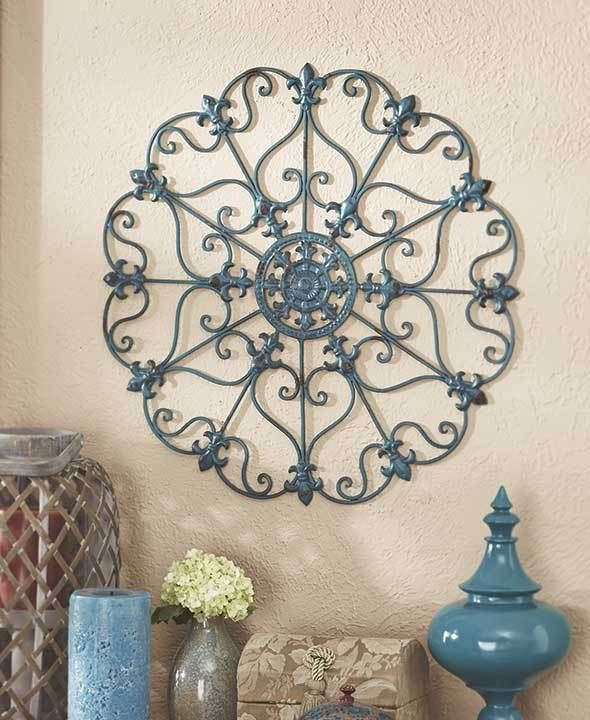 Teal Scrolled Wall Round Metal Medallion Entryway Dining Living Decor Home Art