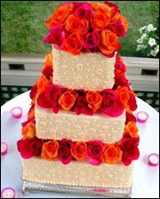 I Love The Rose Placement On This Cake But Want White Icing With Orange And Hot Pink Roses Dots All Over Sides Our Initials At Top