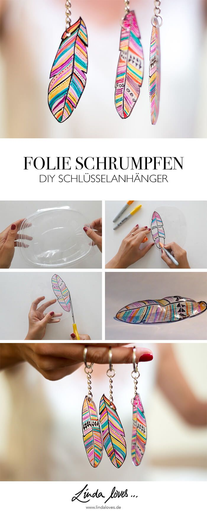 DIY SCHRUMPFFOLIE ANHÄNGER AUS PLASTIKVERPACKUNG | Schlüsselanhänger ...