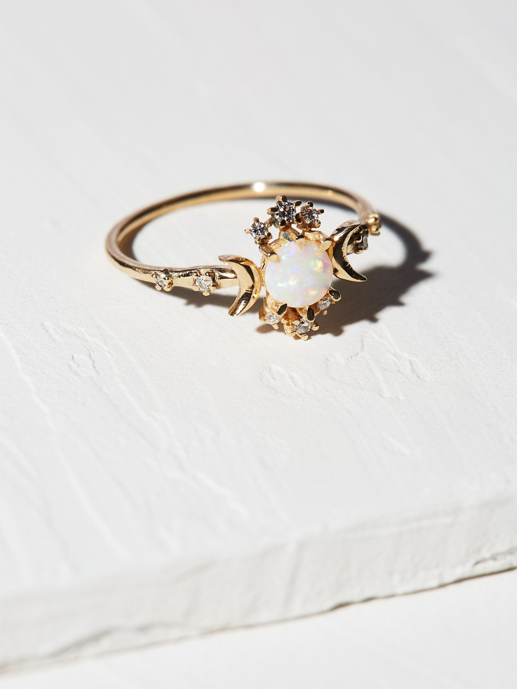 14K Wandering Star Diamond Opal Ring | Made by hand in Morphe's Montreal studio, this delicate, stunning ring features an eye-catching opal and shimmering diamond accents in a galaxy design inspired by the E. E Cummings quote