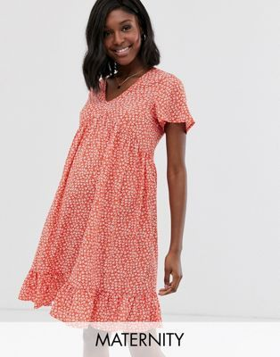New Look Maternity smock dress in red ditsy floral