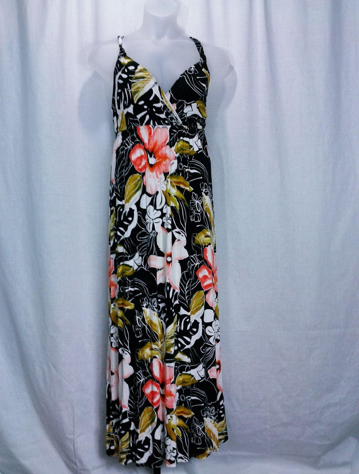 Lane Bryant Tropical Print Jersey Knit Maxi Dress Size 14/16