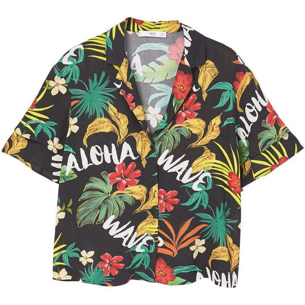 MANGO Tropical print shirt ($50) ❤ liked on Polyvore featuring ...