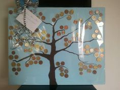 Moneytree instead of a buttontree. Great birthdaypresent! Paint blue background and brown tree glue on the coins :D #DIY