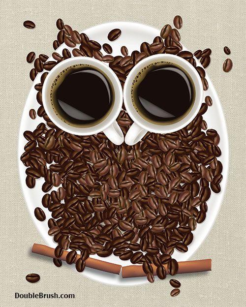 Trending Home Decor Prints Owl Coffee Print Coffee Bean Art