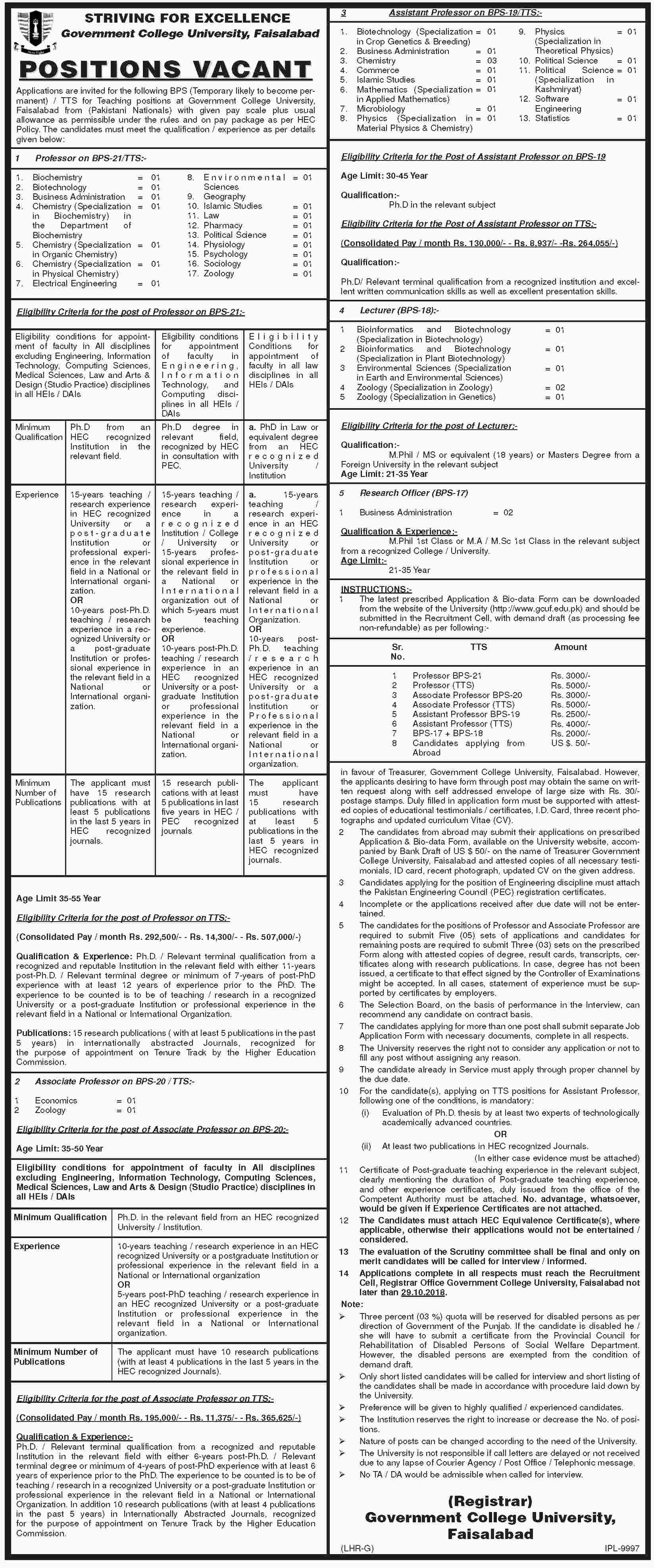 Jobs in Govt College University Faisalabad 13 Oct 2018