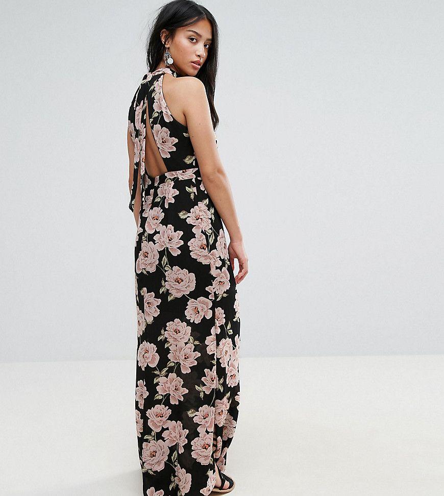 New look petite floral halterneck maxi dress black products