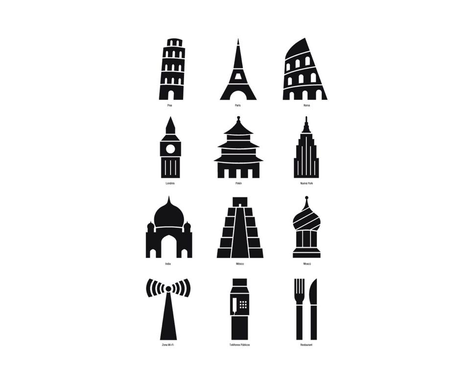 Pictogramas realizados por alumnos de Diseño II – Cátedra Belluccia
