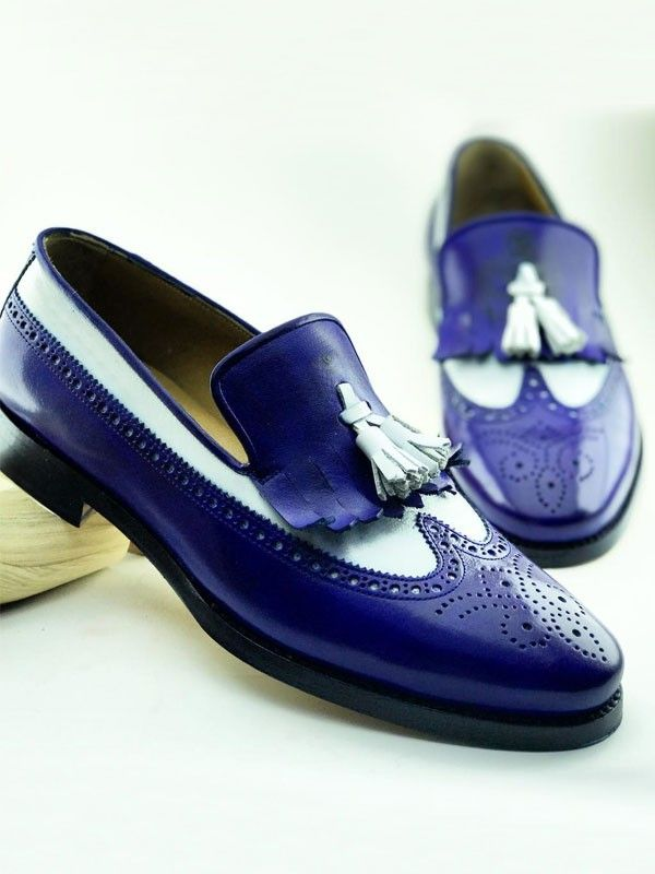 The Celsus Kiltie Tassel Loafer  Blue is part of Shoes - Product Calf Leather Bespoke Shoes Color code Blue Shoes Material CalfLeather Available Size 3940414243444546 Package Include Shoes Only Note  	Bespoke shoes are made to order Please keep in mind the shipping may takes 1014 business days for bespoke shoes   	If you want to Engrave  Your Name  inside these shoes  Write your  FIRST  and  LAST  name in Notes, while processing your order
