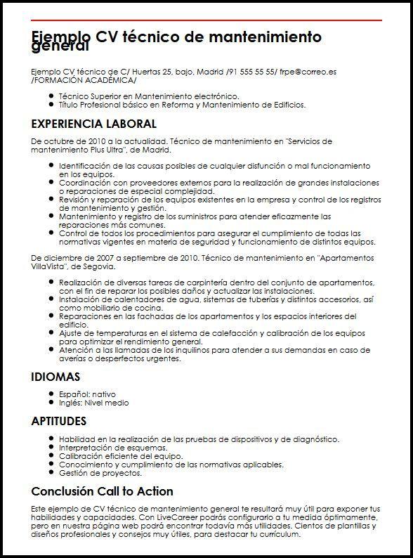 Ejemplo CV Tecnico De Mantenimiento General| MiCVideal | cv tecnico ...
