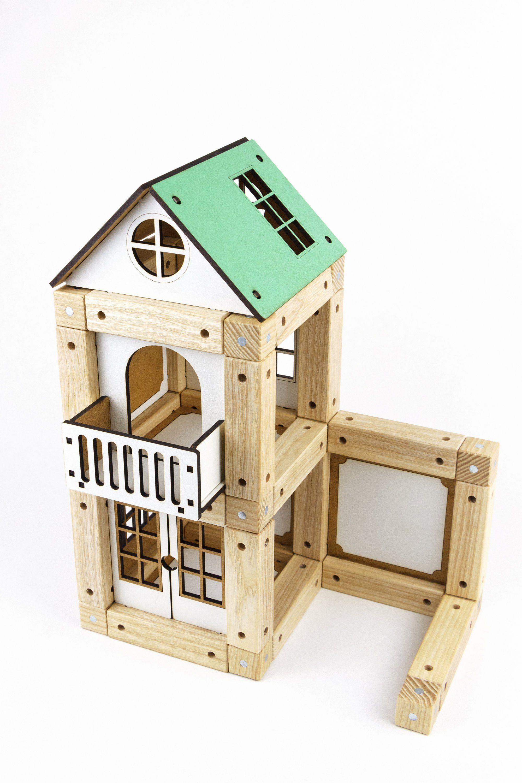 Modular Building Kit Wood Peg Dolls Wood Car