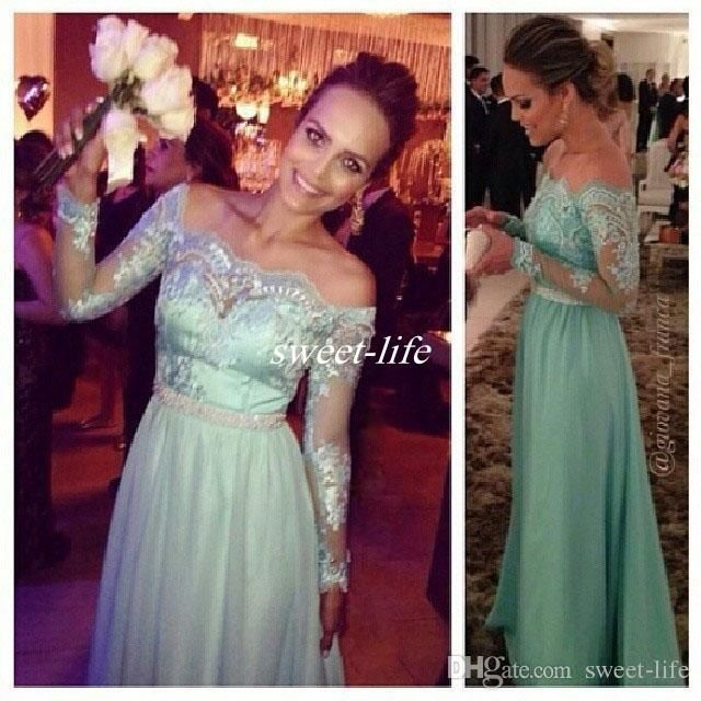 14db35bdf74 Mint Green Wedding Guest Formal Evening Dresses Off Shoulder Lace Long  Sleeve Beaded Floor Length Chiffon 2016 Cheap Prom Bridesmaid Dresses  Online with ...