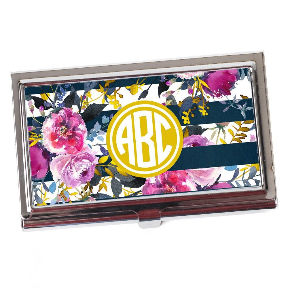 Floral Rose Navy Gold Circle Monogram Business Card Case for Women ...