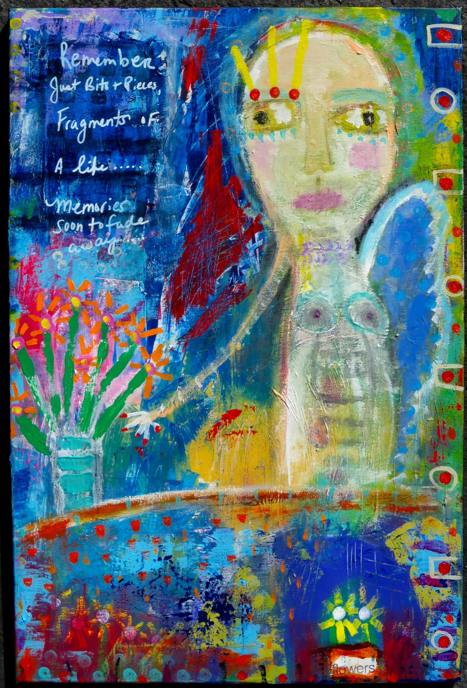 """""""Fragments"""" an original one of a kind mixed media painting by Tracey Ann Finley #outsiderart"""