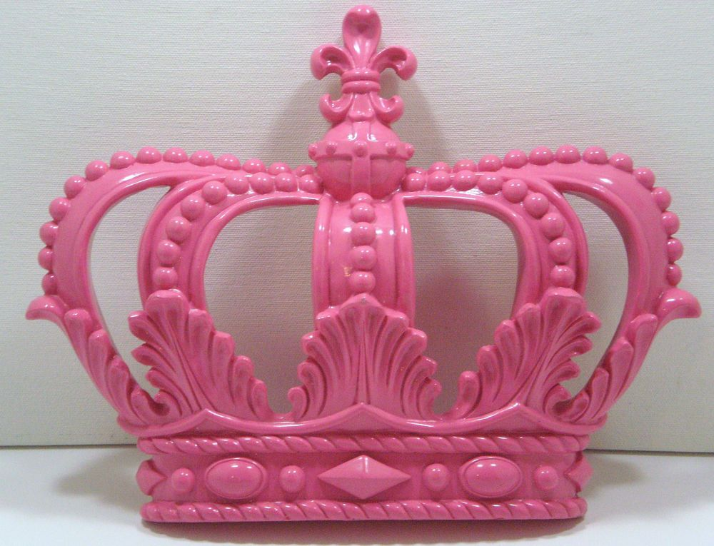 NEW Pretty Hot Pink ROYAL CROWN Wall Decor Glamourous Princess Queen Hers  Decor