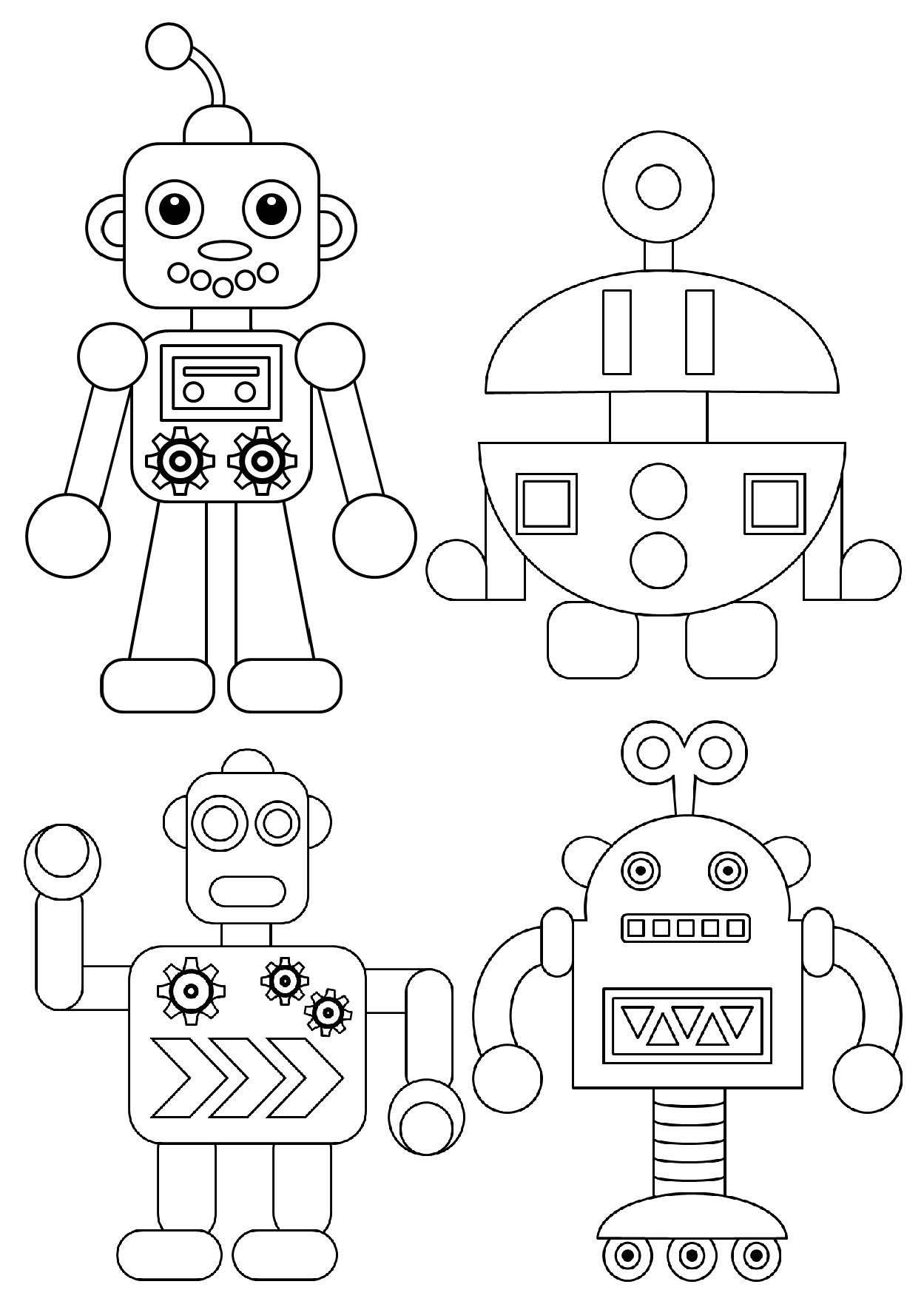 Robot Da Colorare Segnalibri Colori Robot