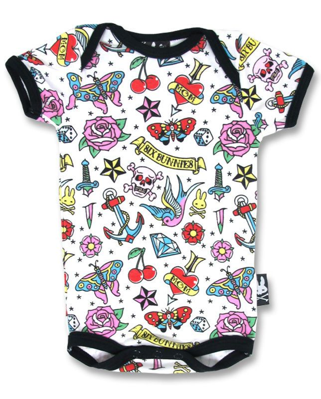 Six Bunnies cute flash tattoo vest alternative baby clothes goth rock metal is part of Baby Clothes Punk -