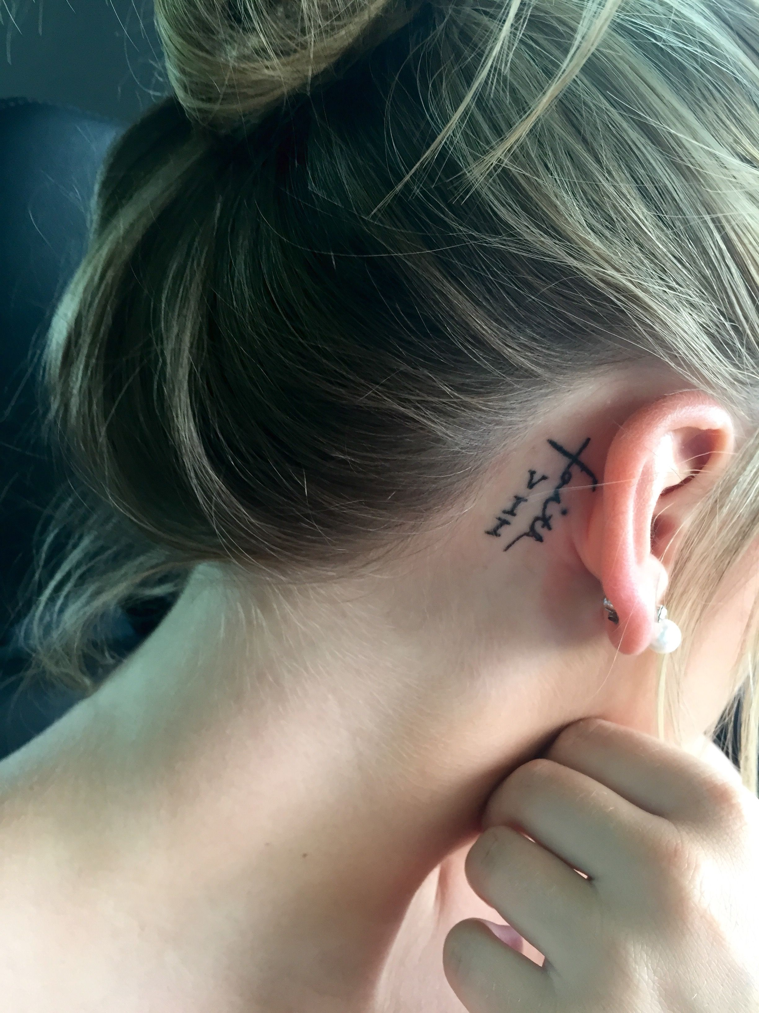 My Tattoo Word Faith In Best Friend S Handwriting In The Shape Of The Cross With The Roman Numeral Seven Next To Neck Tattoo Behind Ear Tattoo Date Tattoos