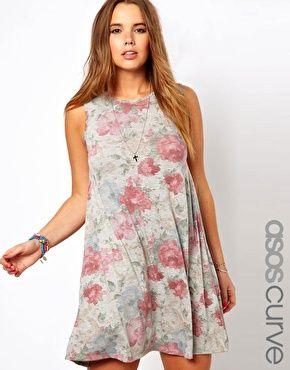 Exklusives Swing-Kleid mit blassem Blumenmuster
