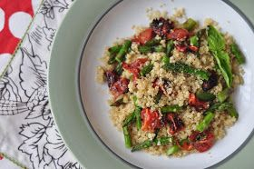 Everything Reconsidered.: quinoa with oven roasted tomatoes + grilled asparagus -- gluten free + dairy free