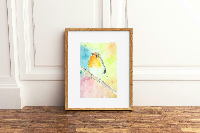 Acquerelli Bambini ~ Uccellino acquerello originale pezzo unico idea regalo per