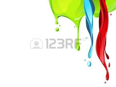 dripping wet: rojo, el flujo de azul, verde líquido de color desde arriba