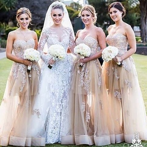 Perfect @portiaandscarlett nude and blush bridesmaids gowns.