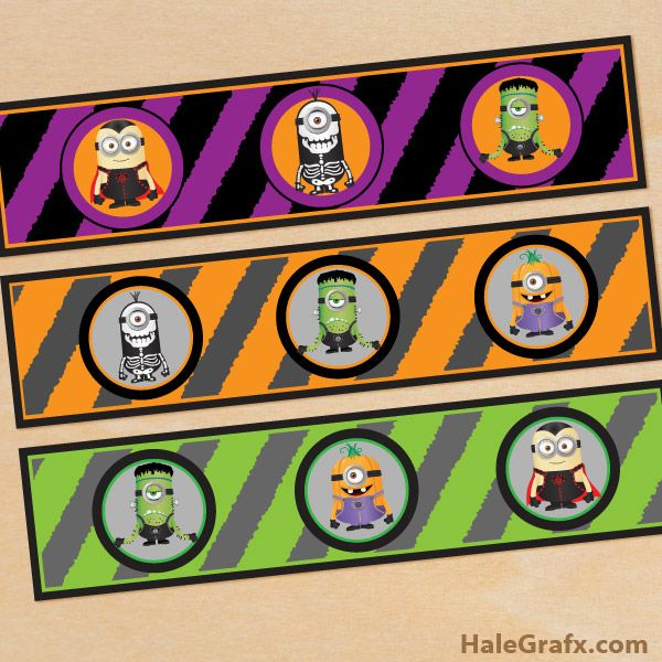 Halloween Minion Labels Free Printable Halloween Minions Water